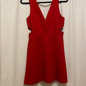 Red a line dress with cut outs